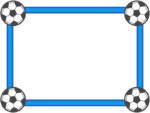 四隅のサッカーボールの青色フレーム飾り枠イラスト