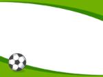 サッカーボールの緑色曲線上下フレーム飾り枠イラスト