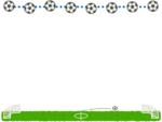 サッカーボールとフィールド/ピッチの上下フレーム飾り枠イラスト