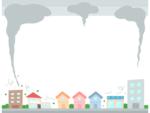 災害/強風・台風の上下フレーム飾り枠イラスト02