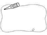 体温計の白黒手書き風点線フレーム飾り枠イラスト