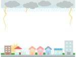 災害/雷雨の上下フレーム飾り枠イラスト