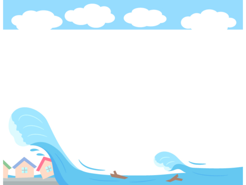 災害/津波・水害の上下フレーム飾り枠イラスト