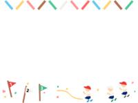 運動会・カラフルなバトンとリレーの上下フレーム飾り枠イラスト