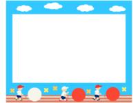 運動会・青空と大玉転がしの水色フレーム飾り枠イラスト