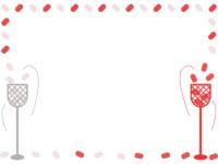 運動会・紅白の玉入れの囲みフレーム飾り枠イラスト