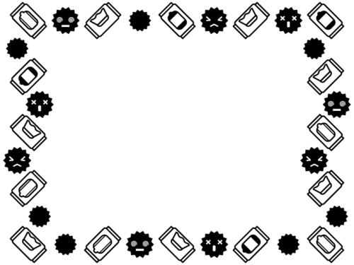 除菌シートとばい菌の白黒囲みフレーム飾り枠イラスト