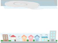 災害/強風・台風の上下フレーム飾り枠イラスト