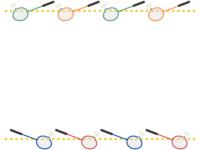 バドミントンの黄色点線上下フレーム飾り枠イラスト