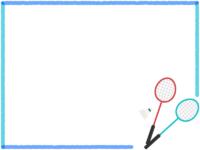 バドミントン・2本のラケットの青系フレーム飾り枠イラスト