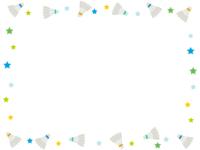 バドミントン・シャトルと星の囲みフレーム飾り枠イラスト