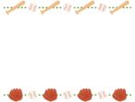 野球・グローブと木製バットとボールの上下フレーム飾り枠イラスト