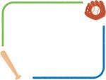 野球・グローブと木製バットとボールの青と緑のフレーム飾り枠イラスト