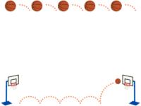 バスケットボールのゴールの上下フレーム飾り枠イラスト