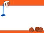 バスケットボールのゴールのオレンジ色上下フレーム飾り枠イラスト