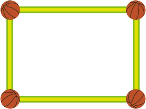 四隅のバスケットボールの黄緑色フレーム飾り枠イラスト