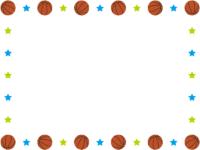 バスケットボールと水色と黄緑の星の囲みフレーム飾り枠イラスト