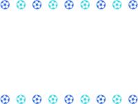 青系のサッカーボールの上下フレーム飾り枠イラスト