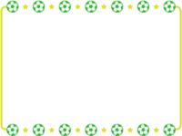 黄緑色のサッカーボールと星のフレーム飾り枠イラスト