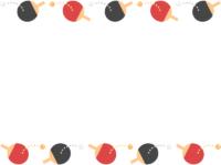 卓球のラケットとボールの上下フレーム飾り枠イラスト