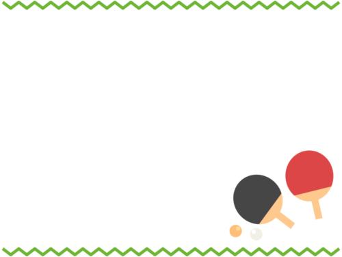 卓球の緑色ギザギザ上下フレーム飾り枠イラスト