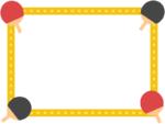 四隅の卓球のラケットの黄色点線フレーム飾り枠イラスト