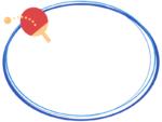卓球のラケットとボールの青色楕円フレーム飾り枠イラスト