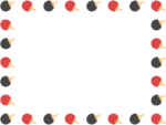 黒と赤の卓球のラケットの囲みフレーム飾り枠イラスト