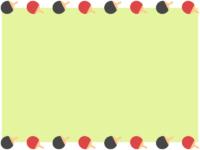 黒と赤の卓球のラケットの黄緑色上下フレーム飾り枠イラスト