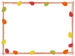紅葉した葉っぱと筆線の茶色囲みフレーム飾り枠イラスト