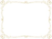 鉛筆風エレガント(ゴールド)フレーム飾り枠イラスト02