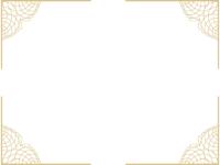 四隅のレース模様(ゴールド)の四角フレーム飾り枠イラスト