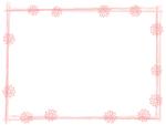 花と筆線のピンク色囲みフレーム飾り枠イラスト