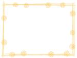 花と筆線の黄色囲みフレーム飾り枠イラスト