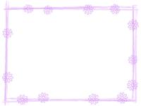 花と筆線の薄紫色囲みフレーム飾り枠イラスト