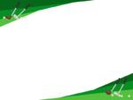 ゴルフクラブとボールの緑色上下フレーム飾り枠イラスト