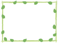葉っぱと筆線の緑色囲みフレーム飾り枠イラスト