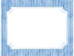 鉛筆線画のラベル風(ブルー)フレーム飾り枠イラスト