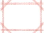 複数鉛筆線(レッド)のフレーム飾り枠イラスト