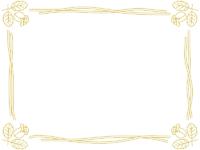 バラの線画(ゴールド)フレーム飾り枠イラスト