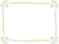 バラの線画(グリーン)フレーム飾り枠イラスト