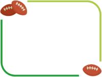ラグビーボールの緑色フレーム飾り枠イラスト
