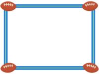 四隅のラグビーボールの青色フレーム飾り枠イラスト