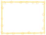 星と筆線の黄色囲みフレーム飾り枠イラスト