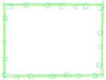 星と筆線の緑色囲みフレーム飾り枠イラスト