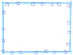 星と筆線の青色囲みフレーム飾り枠イラスト