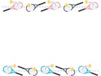 テニスラケットとボールの水色点線上下フレーム飾り枠イラスト