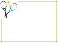 二本のテニスラケットの黄緑色フレーム飾り枠イラスト